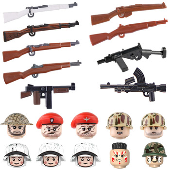 WW2 Military Weapons Accessories Building Blocks WW2 Army Soldiers M1 Garland Thompson Weapons gun Parts Bricks Toy For Children