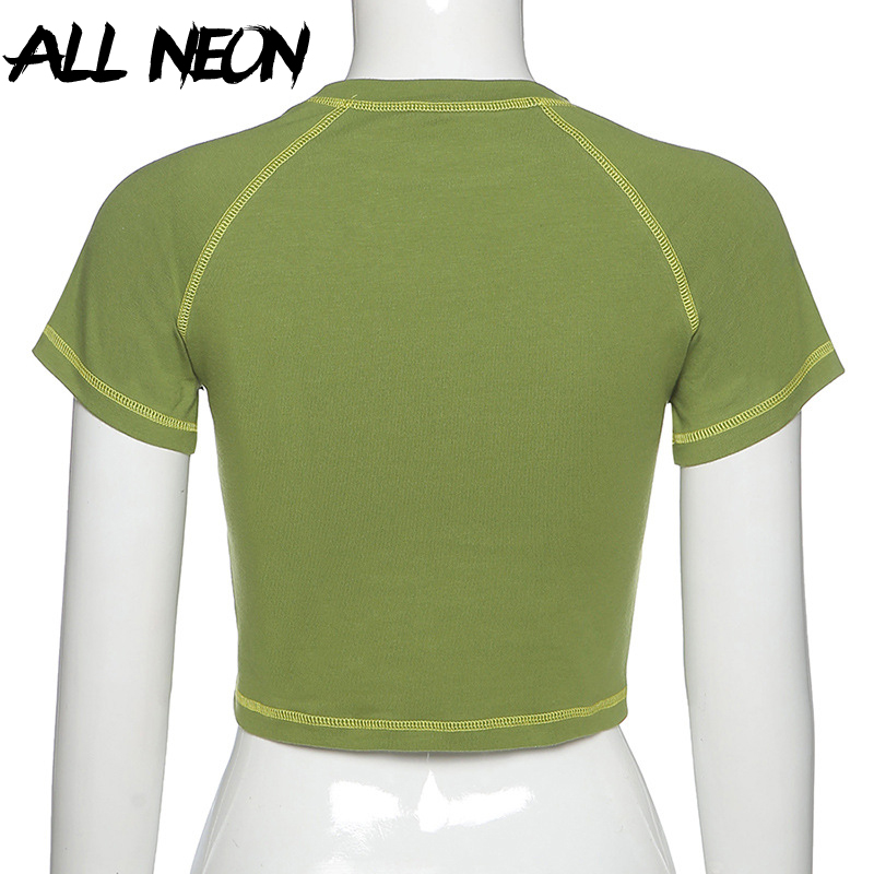 ALLNeon E-girl Butterfly Graphic and Letter Printing Stitch Green Crop Tops Y2K Summer Grunge Style O-neck Short Sleeve T-shirts 6