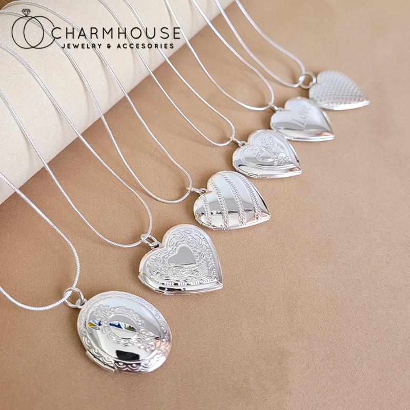 Чистое Серебро 925 шарма ожерелья для женщин и мужчин, открываемые фото сердце/Овальный медальон Кулон & ожерелье колье в винтажном стиле для ...