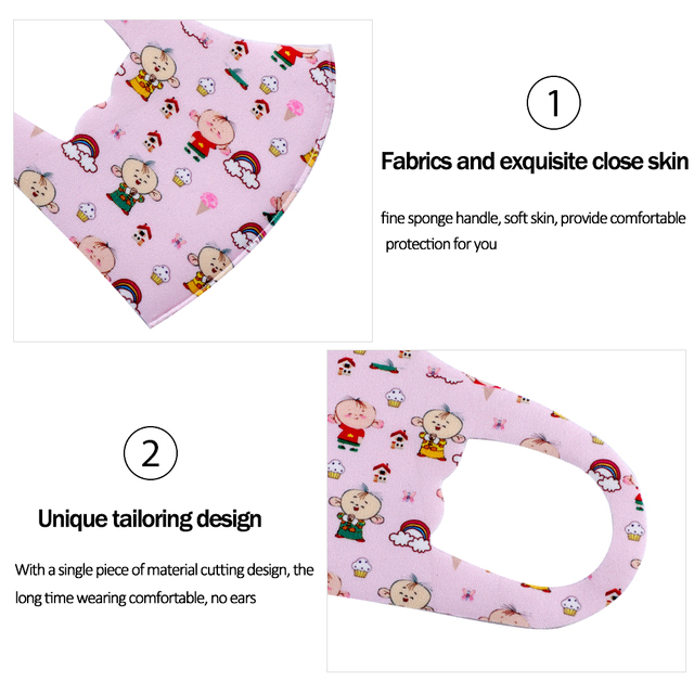 Wholesale Kids Cartoon Printing Mouth Mask Anti-Dust Flu Breathable PM2.5 Cotton Face Nose Mask Cover With Filter Respirator 3