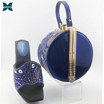 Модные босоножки и сумочка в африканском стиле Королевского синего цвета, комплект из обуви и сумочки в нигерийском стиле, удобный каблук д