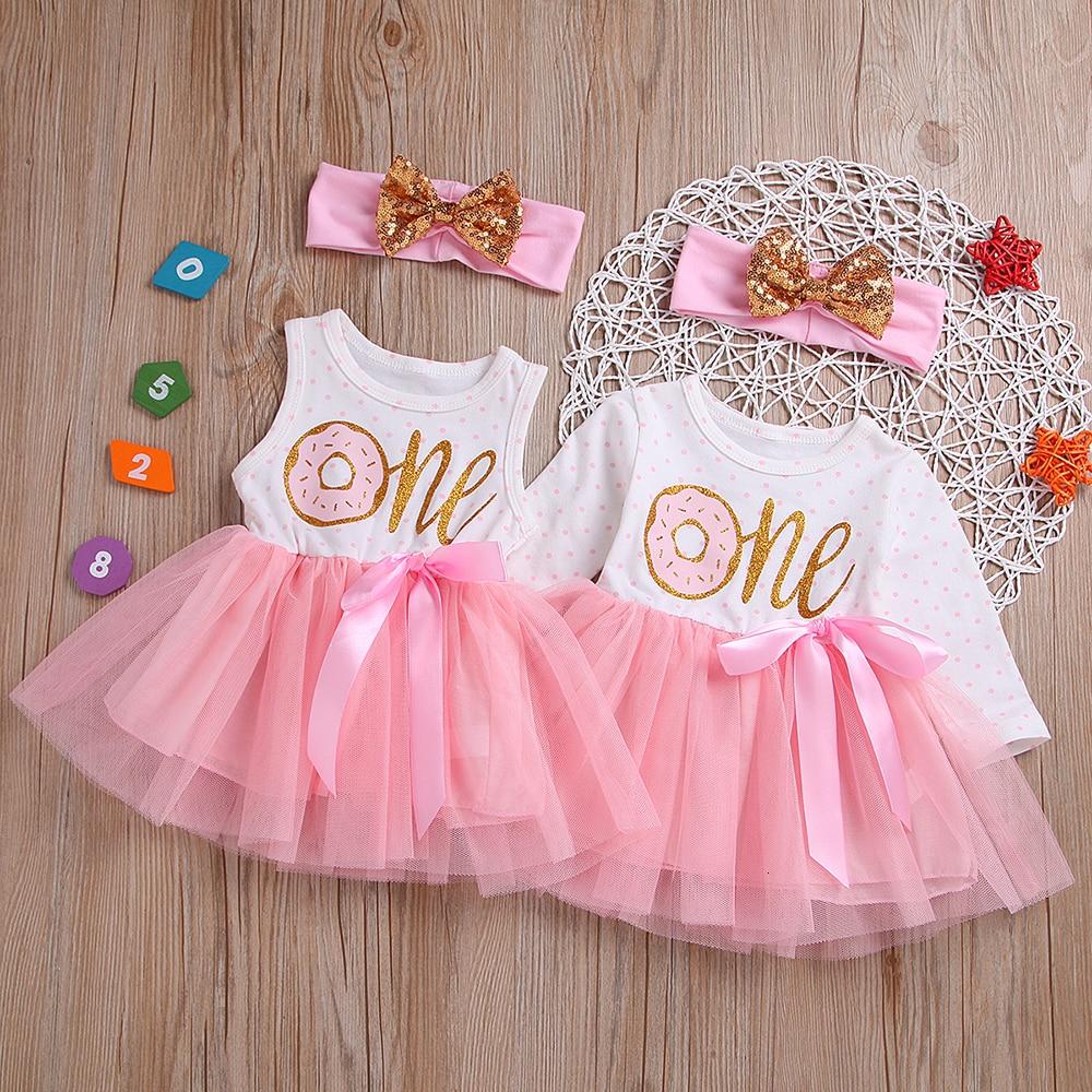 Платье принцессы для девочек 0-24 месяцев, Тюлевое платье с надписью «пончик», для дня рождения, повязка на голову
