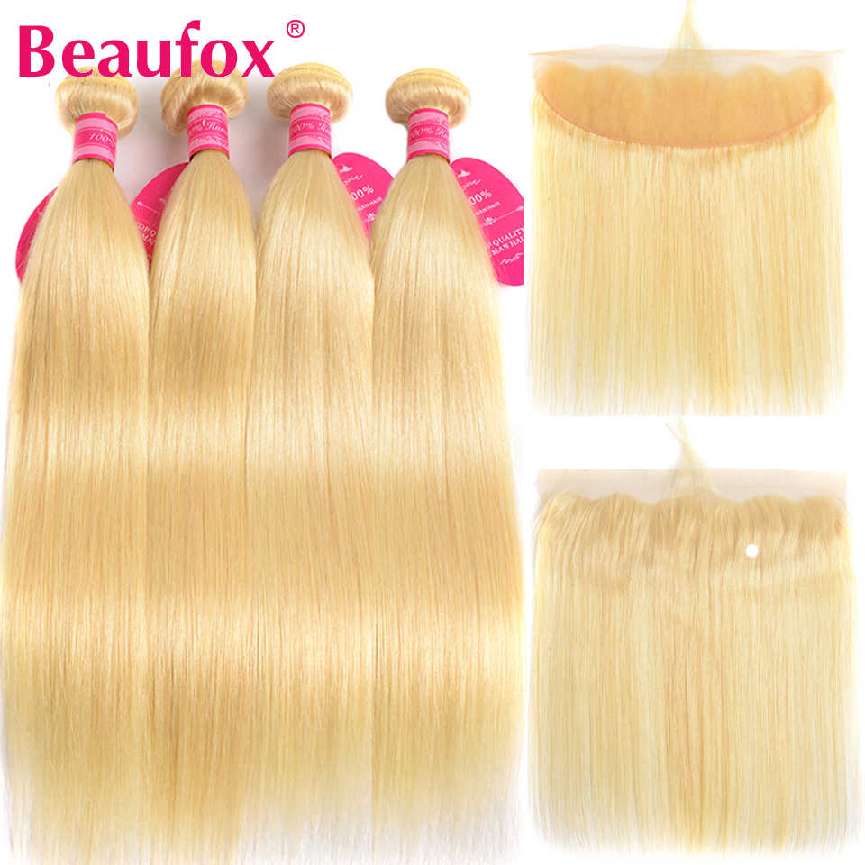Beaufox 613 Blonde Bundles With Frontal Peruvian Straight Hair 4 Bundles With Frontal Remy Human Hair Bundles With Frontal