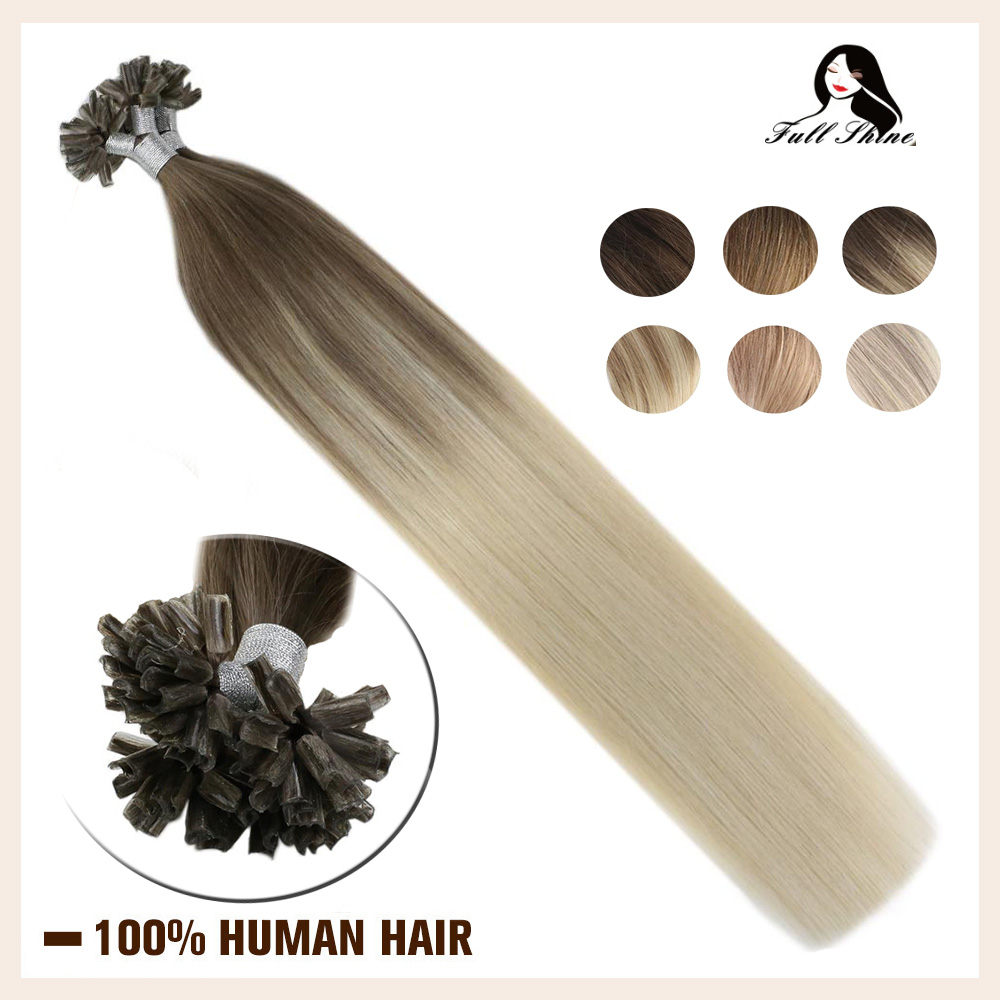 Full Shine Hair U Tip Extensions Balayage Color 50g Machine Made Remy Nail Tip Hair Extensions Human Hair Keartin Capsule Fusion