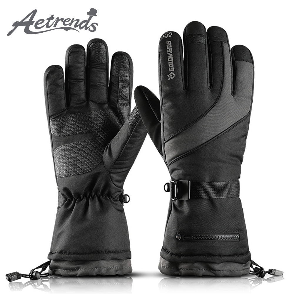 [AETRENDS] Warm Winter Touch Screen Ski Gloves Waterproof Breathable Snowboard Thinsulate Insulated Snow Gloves O-0062