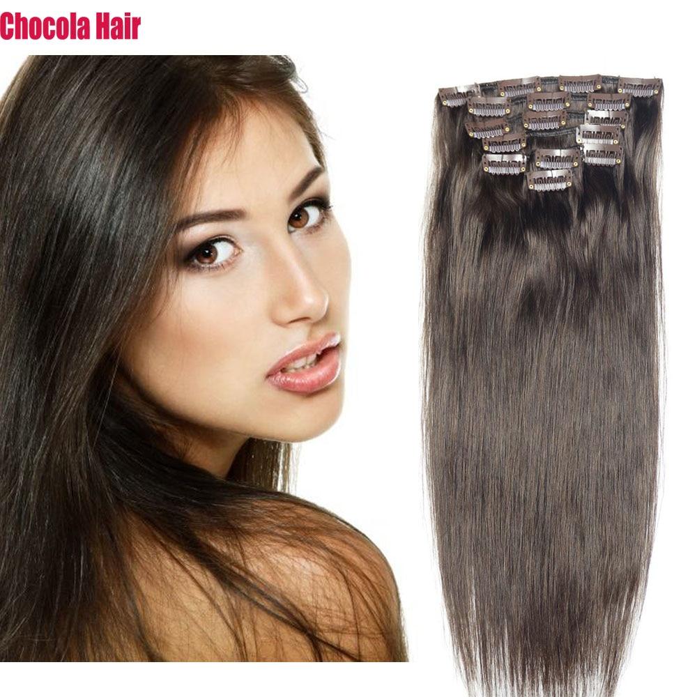 "Chocola Full Head 16""-28"" 7pcs Set 140g Brazilian Machine Made Remy Hair Clip In Human Hair Extensions  Natural Straight Hair"