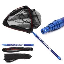 Triangle Dip Net Head Carbon fiber Rod 2.1m 6 sections Portable Hand Outdoor Fishing