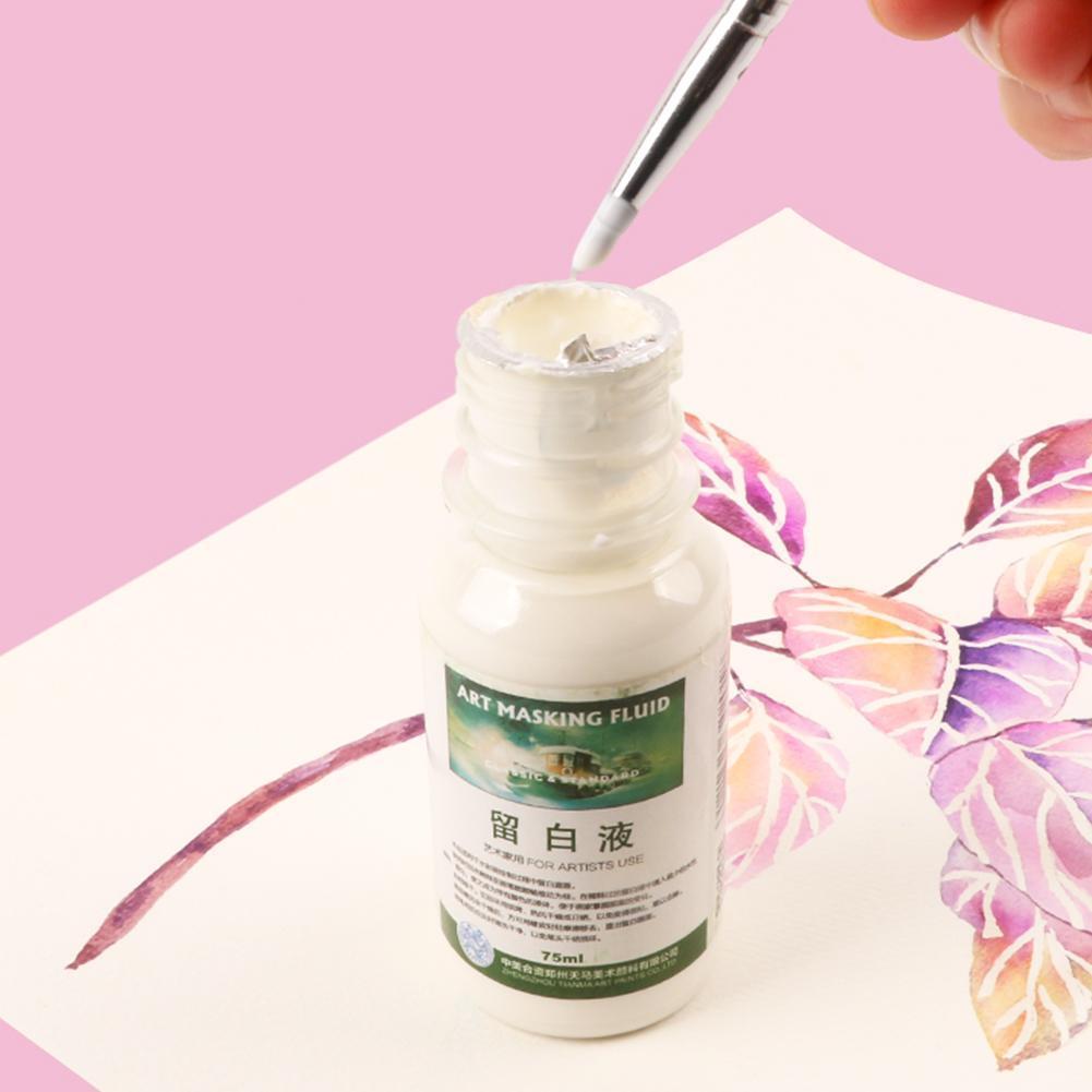 1PC Watercolor Media Masking Ink The White Liquid Of Syringin White/Pink Gel Bottle Needle Tube Watercolor White Liquid Painting
