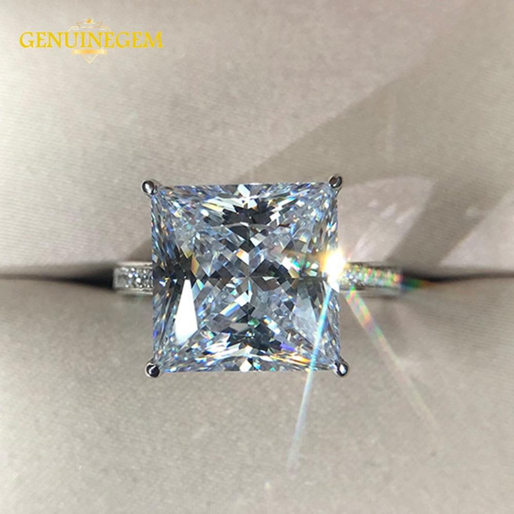 Véritable argent véritable 925 bijoux 12MM carré créé Moissanite anneaux de fiançailles de mariage pour les femmes fête saint valentin anneau cadeaux