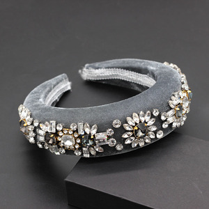 Image 5 - Diadema barroca de terciopelo con diamantes de imitación, diadema de lujo con personalidad de bola, diadema de Boutique con diamantes de imitación 790