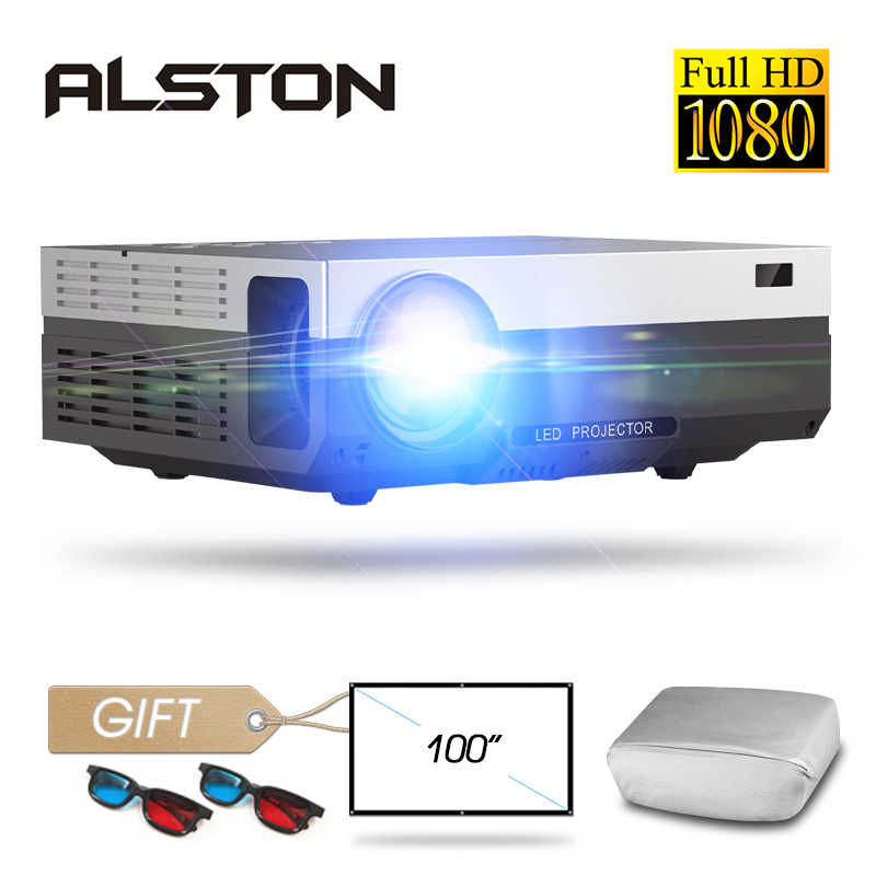 ALSTON T26 시리즈 풀 HD 1080P 프로젝터 6500 루멘 4K 홈 시네마 극장 HDMI VGA USB TV T26L T26K proyector with gift