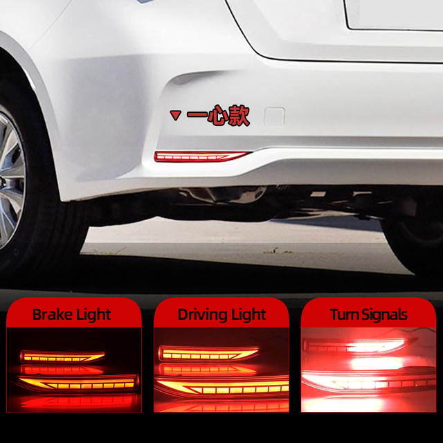 2PCS Auto LED Reflektor Für Toyota Corolla 2019 2020 Auto LED Hinten Nebel Lampe Bumper Licht Bremsleuchte Dynamische blinker