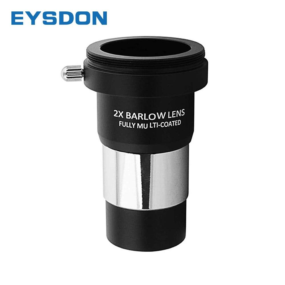Объектив EYSDON Barlow 2X 1,25 дюйма полностью покрытый металлом с резьбой M42 t-образной кольцевой соединитель для окуляра телескопа
