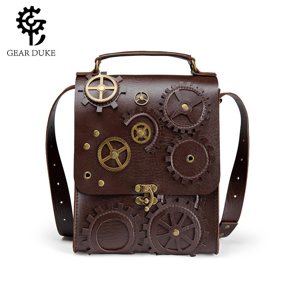 Gear Duke Steampunk PU Leather Waist Bag Vintage Gothic Steampunk Fanny Waist Leg Bag Briefcase