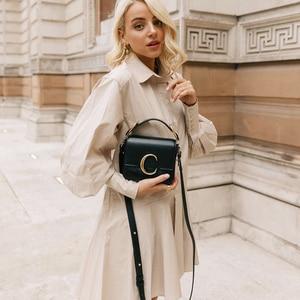 Женское офисное платье-рубашка Za, элегантное Хлопковое платье-трапеция с драпировкой и длинным рукавом, мини-платье на осень