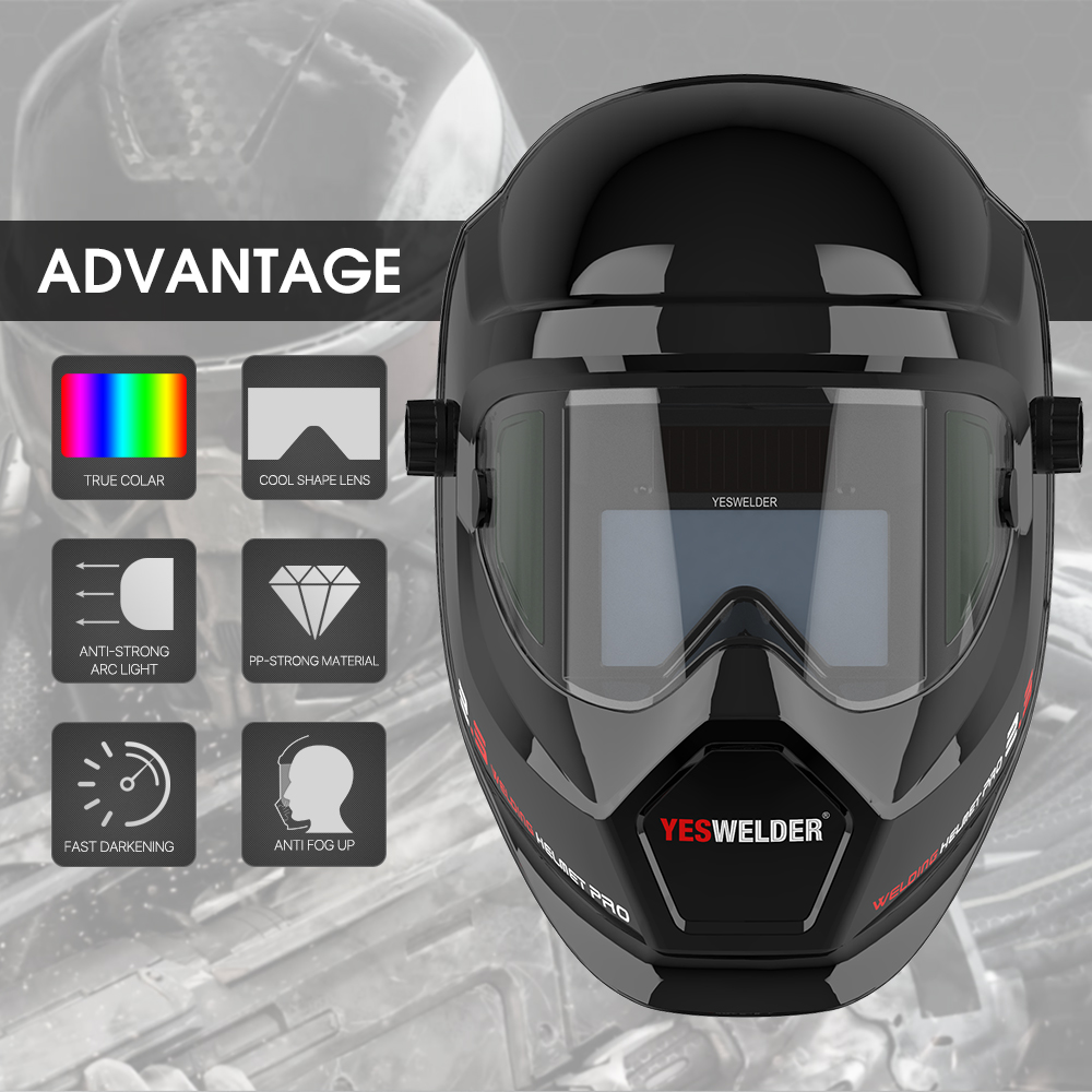 YESWELDER Anti Fog Up True Color Welding Helmet Solar Powered Auto Darkening Weld Mask With Side View For TIG MIG ARC LYG-S400S
