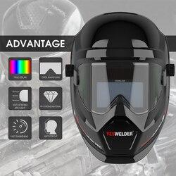YESWELDER Anti Fog Up True Kleur Lashelm Zonne-energie Auto-verdonkert Lassen Masker met Zijaanzicht voor TIG MIG ARC LYG-S400S
