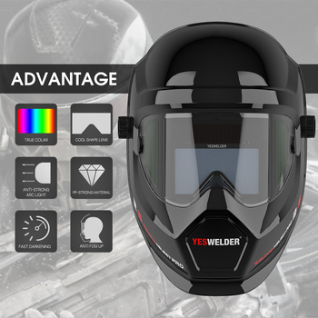YESWELDER Auto Darkening Welding Helmet Solar Powered Anti Fog Up True Color Weld Mask with Side View for TIG MIG ARC LYG-S400S