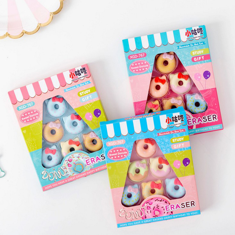 6Pcs/Pack Kawaii Candy Doughnuts Bow Eraser Rubber Eraser Primary Student Prizes Promotional Gift Stationery
