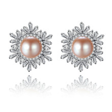 YUEYIN 925 Sterling Silver Earrings for Women Cute Girls Pear Winter Snow Luxurious Chaming Christmas Jewelry Earring