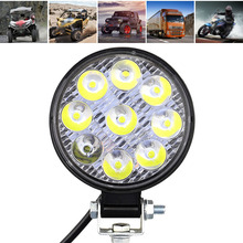 New Mini 27W 6000K 9-LED Car Light Waterproof Off-Road Round Work Lamp aluminum LED For Truck ATV Vehicle