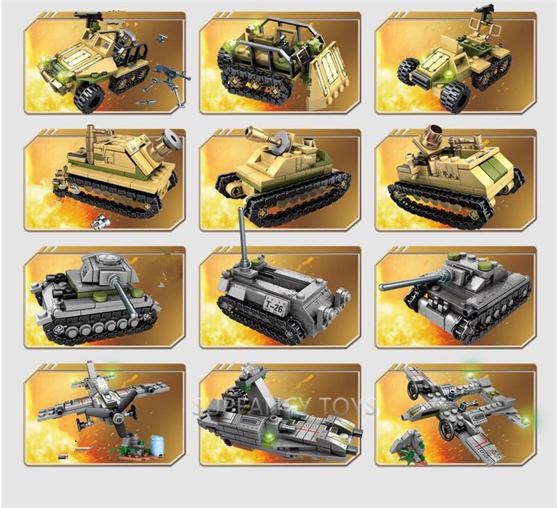 Купить с кэшбэком 1061Pcs Military Iron Empire Tank Armored Car Building Blocks Sets Army WW2 DIY Bricks Playmobil Educational Toys for Children