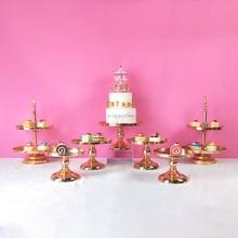 FFriday  3-7 pcs Gold Birthday party Wedding Crystal Round Metal Set Mirror Dessert Cake Stand