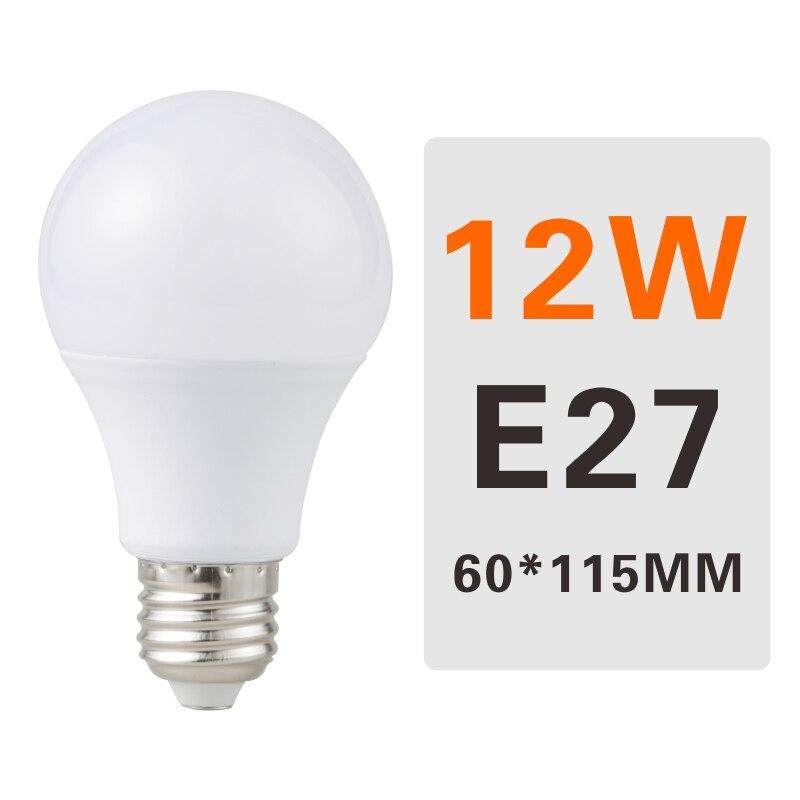 E27 E14 LED Bulb Lamps 3W 6W 9W 12W 15W 18W 20W Lampada Ampoule Bombilla LED Light Bulb AC 220V 230V 240V Cold/Warm White - Испускаемый цвет: 12W E27