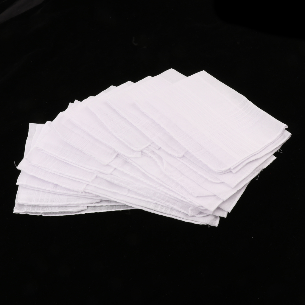 12 Pieces 100% Polyester Solid White Handkerchiefs Women Men Anti Wrinkle Hanky Hankies Kerchiefs