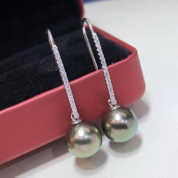 D304 Pure 925 Sterling Silver Fine Jewelry 8-9mm Fresh Water Peacock Green Pearls Dangle Earrings for Women Fine Pearl Earrings