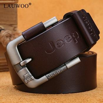 LAUWOO  belt male fashion leather belt men male genuine leather strap luxury pin buckle men's belt Cummerbunds ceinture homme