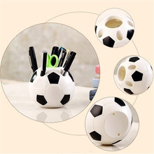 Students Football Pen Pencil Holder Soccer Shape Style Toothbrush Holder Desktop Organizer Container Table Decor For Kids Gifts
