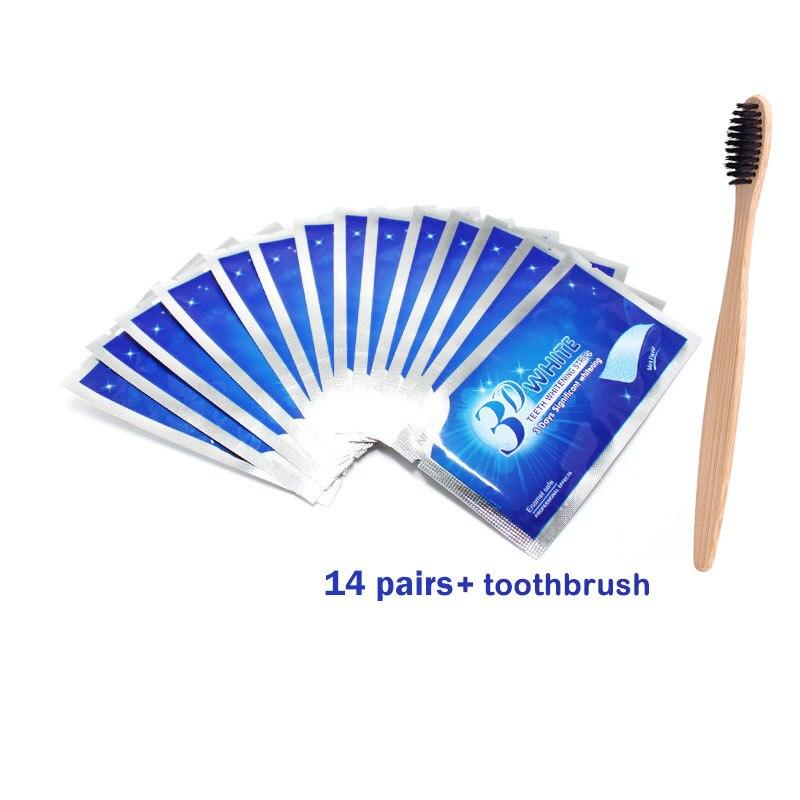 28 шт./14 пар 3D усовершенствованные полоски для отбеливания зубов удаление пятен для гигиены полости рта чистая двойная эластичная полоска для отбеливания зубов - Цвет: 14 pairs with brush