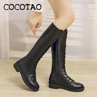 Lace up Boots Female 2019 New Autumn And Winter Days With High Leather Riding But Knee Leather Face Low With Little Knight Boots