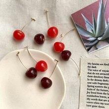 Gold earrings women girls resin  round dangle sweet red cherry