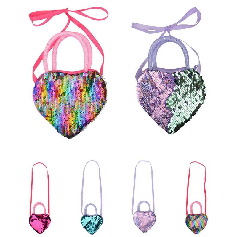 Children Mini Heart Shaped Sequins Change Coin Purse Handbags Kids Girls Crossbody Shoulder Bags Messenger Diaper Bag Gifts