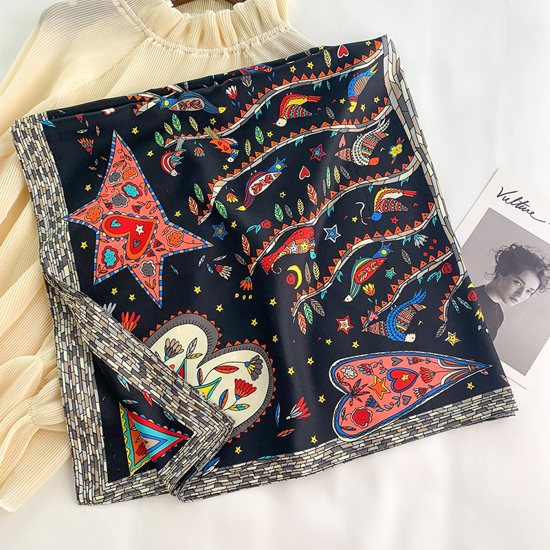 2020 Personality Women Scarf Heart Moon Decoration Fashion Sauqre Scarf Korea Style Easy Match