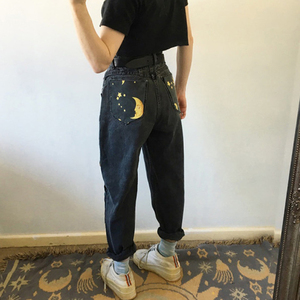 2020 New Women Fashion High Waist Straight Jeans Pants for Women Streetwear Loose Female Denim Jeans Casual Print Ladies Jeans