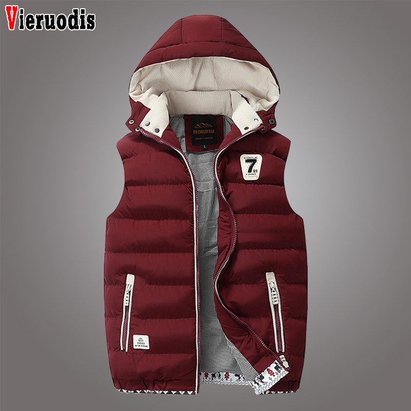 Mens Winter Windproof Sleeveless Jacket Parkas Men's Sleeveless Plus Size 5XL Jacket Male Casual Thick Warm Detachable Waistcoat