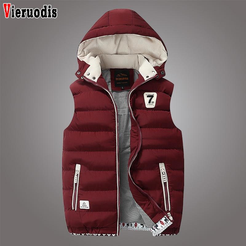 Mens Winter Windproof Sleeveless Jacket Parkas Men's Sleeveless Plus Size 5XL Jacket Male Casual Thick Warm Detachable Waistcoat