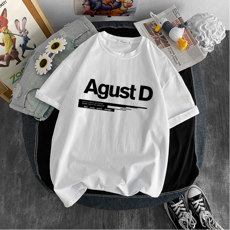 New Korean version of KPOP Agust D printed T-shirt D-2 album Unisex T-shirt Yoongi shirt Teen clothes cool