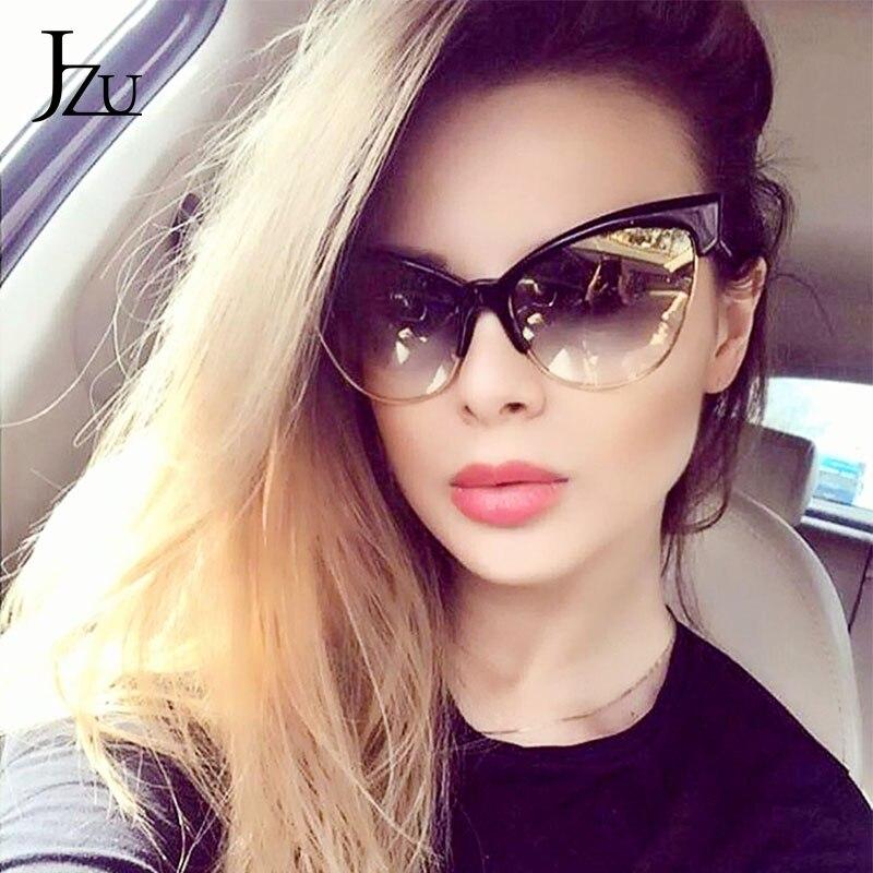 Jzu 2020 nova marca designer cateye óculos de sol feminino olho de gato óculos de sol moda leopardo vintage metal retro lunette sol uv400