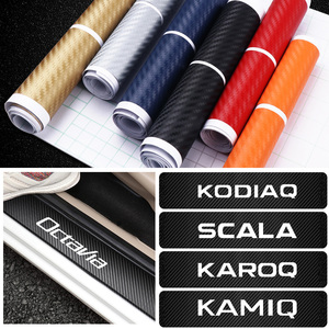 Car Styling For Skoda Octavia fabia Rapid Yeti kodiaq Superb Kamiq 4pcs 3D Carbon Fiber Emblem Door Sill Protector Stickers