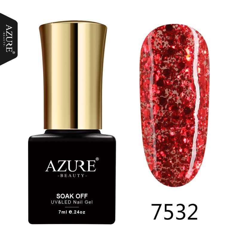 Azure Kecantikan Merah Warna Berlian Glitter Uv Gel Nail Polish Nail Art Salon Bahasa Polandia Neon Gel Semi Permanen Payet UV cat Kuku