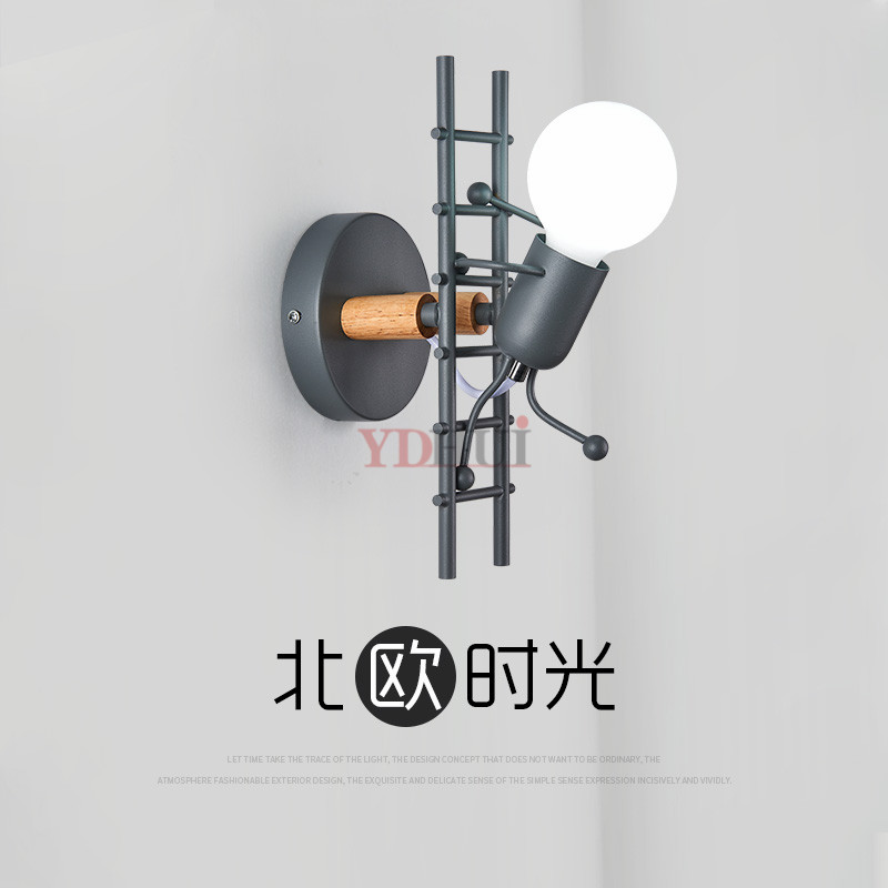 Modern Cartoon Doll Wall Light Fixtures LED Creative Mounted Iron  Bedside Sconce Lamp for Kids Baby Room Living Room