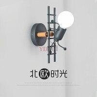 Nordic lâmpada de parede quarto personalidade criativa homem pequeno subir escada luz da parede do corredor do quarto das crianças lâmpada de cabeceira