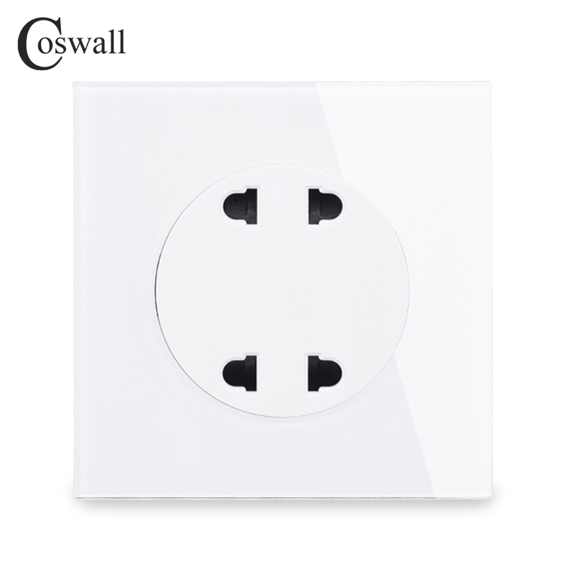 Coswall Crystal Glass Panel Double Universal 2 Hole Wall Power Socket Outlet 10A With Children Protective Door R11 Series 250V