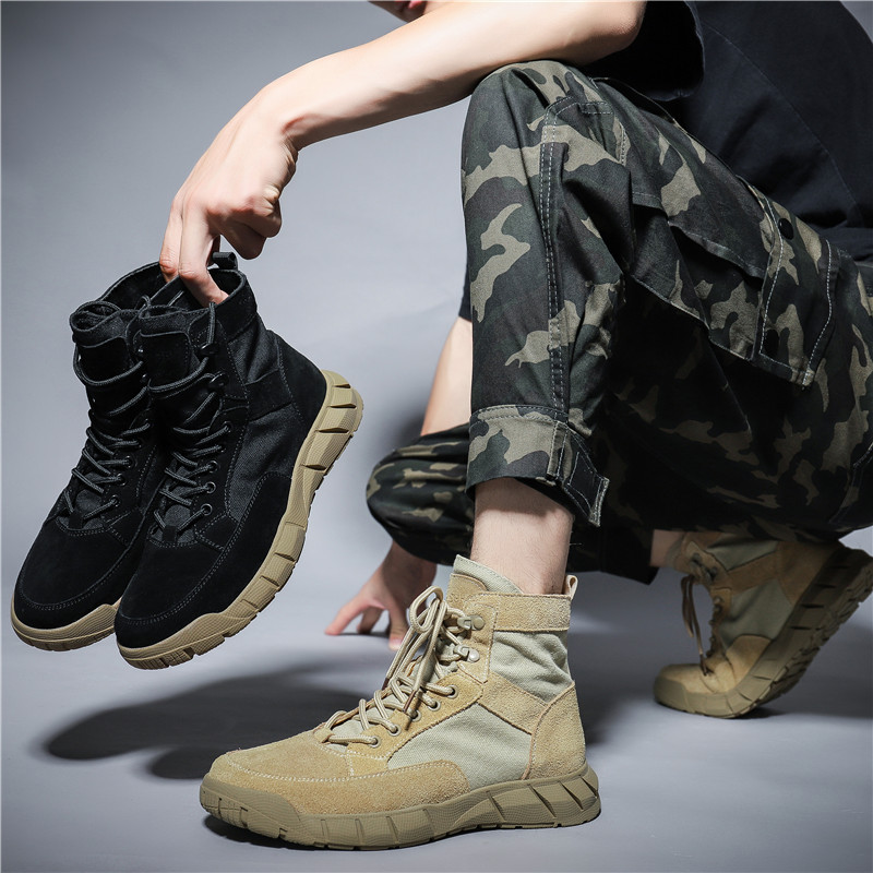leather cowhide Martin boots men's British wind Korean version of wild high-top boots men's desert boots tooling shoes outdoor