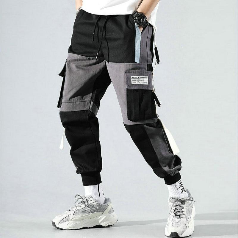 Ribbons Harem Joggers Men Cargo Pants Streetwear 2020 Hip Hop Casual Pockets Track Pants Male Harajuku Fashion Trousers 2
