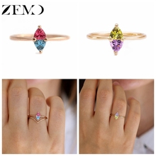 ZEMO 1PC Rose Gold Rings for Women Triangle Zircon Colorful Finger Rainbow Females Knuckle Gift Friends anillos mujer